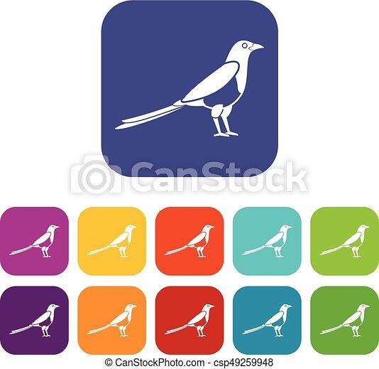 Bird magpie icons set - csp49259948