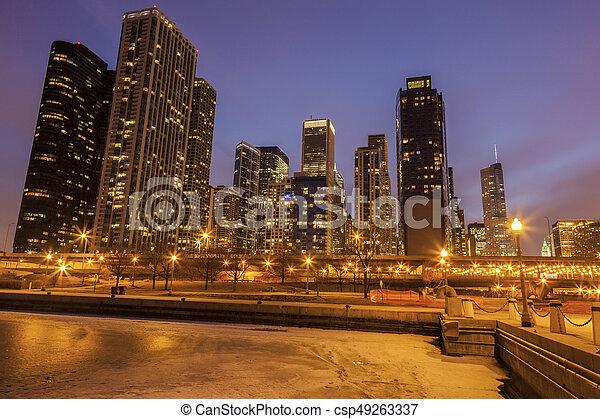 Panorama of Chicago and frozen Lake Michigan - csp49263337