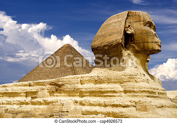 Egyptian Sphinx and Pyramid - csp4926573