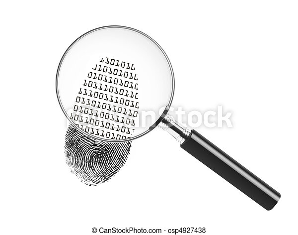 Magnifying glass looking at a finge - csp4927438