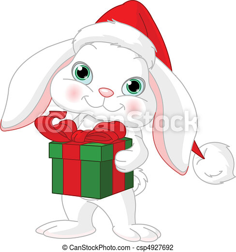 Little rabbit with Christmas gift - csp4927692