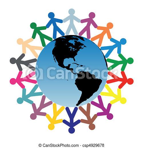 mundo, niños, alrededor - csp4929678