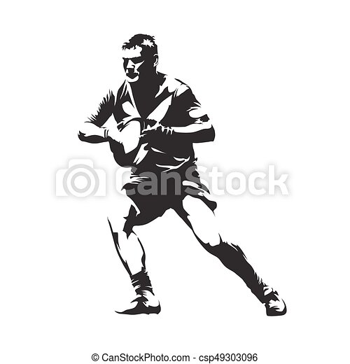 Rugby player with ball, abstract vector silhouette, front view - csp49303096