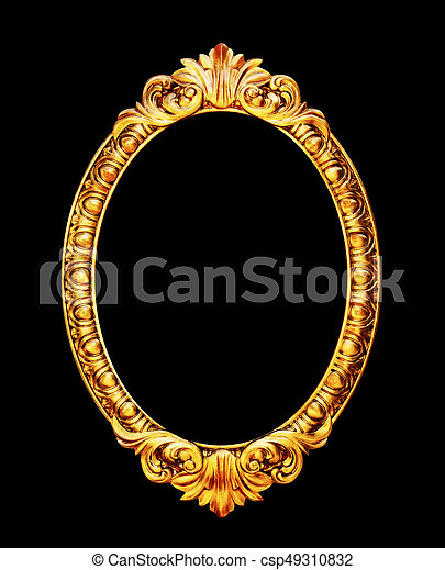 Oval old mirror frame photo isolated on black - csp49310832
