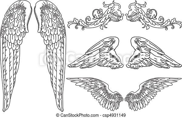 Vecteurs eps de ailes ange quatre ensembles de - Ailes d ange dessin ...