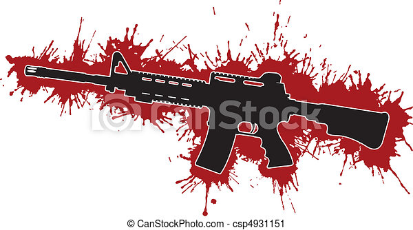 Assault Rifle with Blood Stains - csp4931151