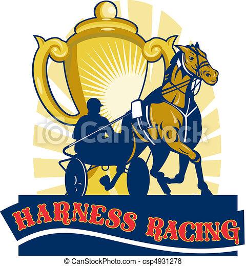Harness cart horse racing cup - csp4931278