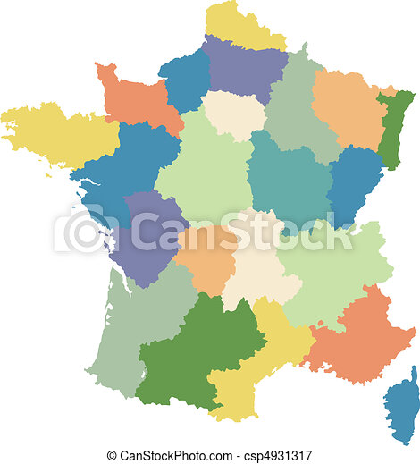 Map of France divided into regions - csp4931317