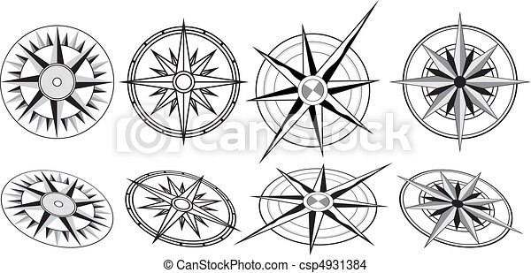 Eight Black and White Compasses - csp4931384
