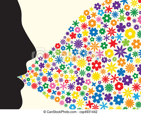 Face silhouette blowing flowers - csp4931442