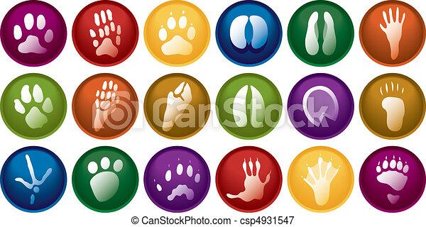 Vectors Illustration of Animal tracks buttons - Eighteen various ...