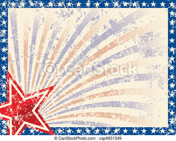 Patriotic Frame with Stars and Grunge - csp4931549