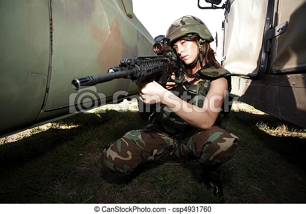 Sexy military woman - csp4931760