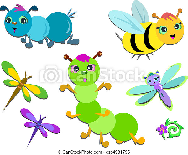 Mix of Cute Insects - csp4931795