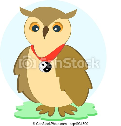 Wise Owl with a Yin Yang Collar - csp4931800