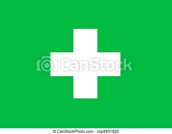 Clip Art of First Aid Symbol - A predominantly green graphic image ...