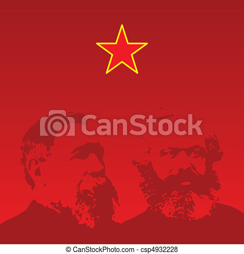 Marx and Engels portraits - vector - csp4932228