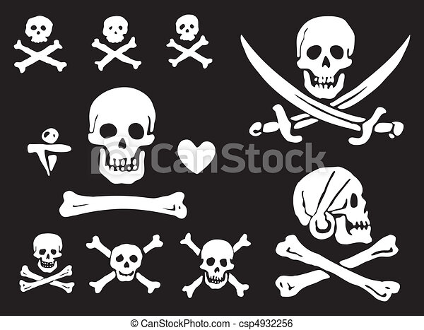 Pirate flags, skulls and bones - csp4932256