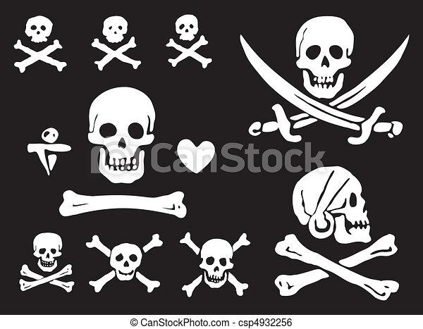 Pirate flags, skulls and bones - csp4932256