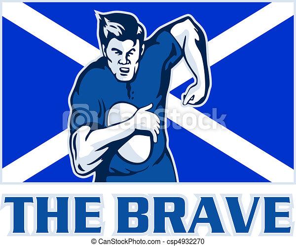 Scottish rugby player scotland flag - csp4932270