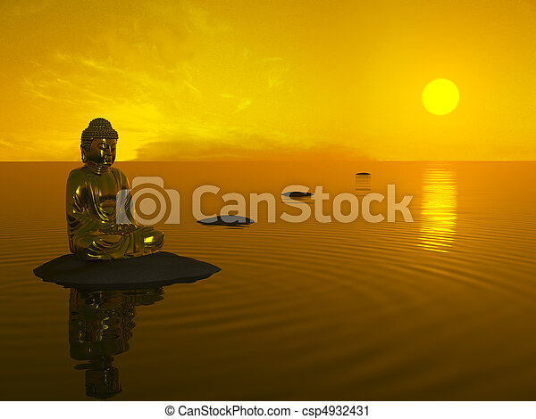Buddha before sunset. - csp4932431
