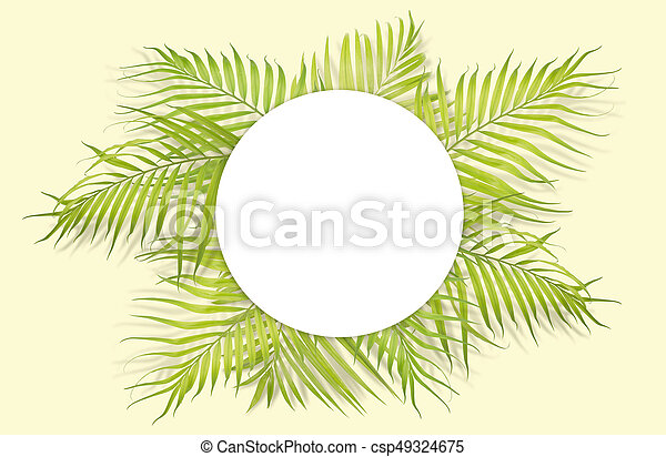 Tropical palm leaves with white paper on yellow background. Minimal nature. Summer Styled. Flat lay. Image is approximately 5500 x 3600 pixels in size.