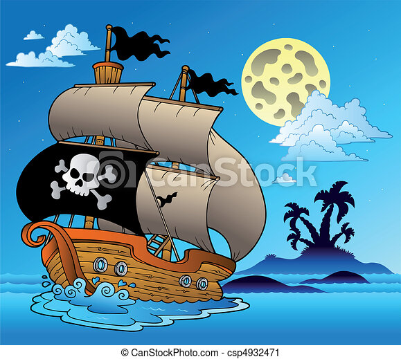 Pirate sailboat with island silhouette - csp4932471