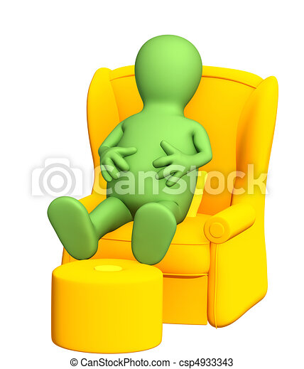 3d puppet, having a rest in a soft armchair - csp4933343