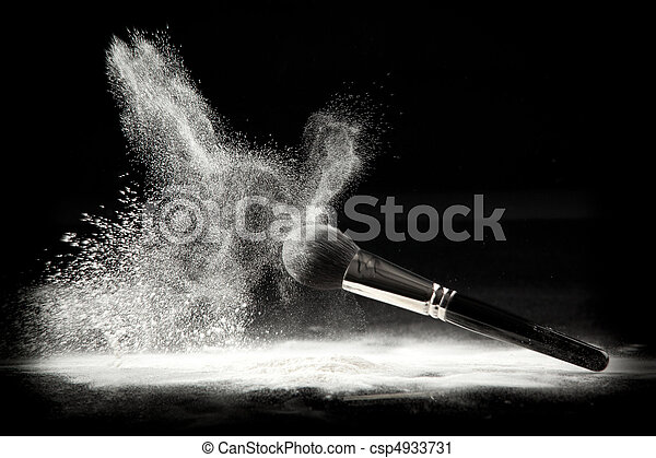 a composition with a powder brush and white loose powder - csp4933731