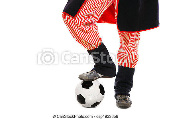Polish man in a traditional outfit with football - csp4933856