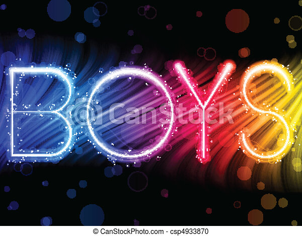 Boys Gay Pride Abstract Colorful Waves on Black Background - csp4933870