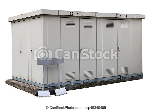 Standard rural street metal shed for counters of energy and the main power switches. Isolated with patch