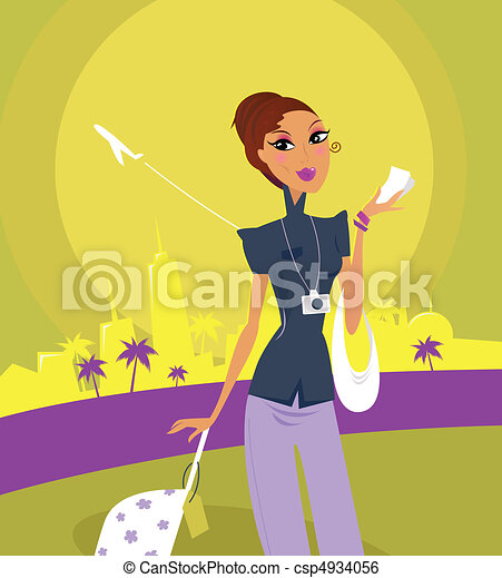 Travel girl at the airport  - csp4934056