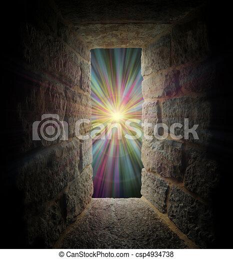 Mystical stone window or portal to a pastel vortex - csp4934738