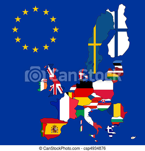 Map of European Union with 27 flags - csp4934876