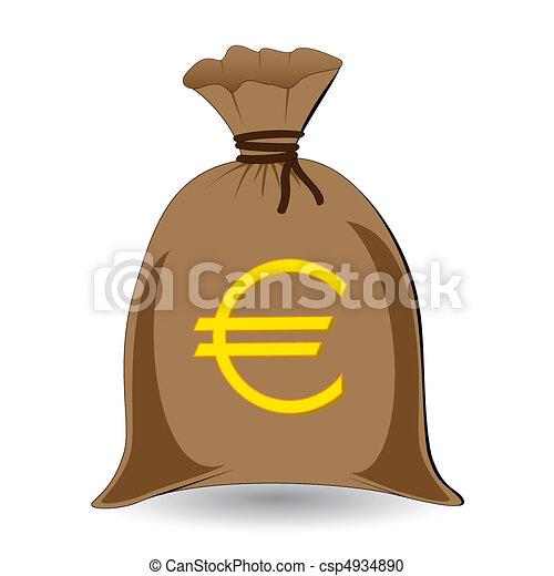 Vektor Clipart Von Vektor Geld Voll Sack Euros