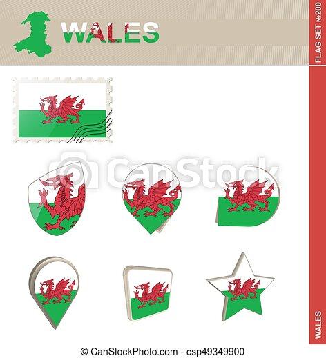 Wales Flag Set, Flag Set #200 - csp49349900