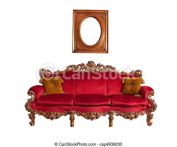Red baroque sofa, isolated on white - csp4936030