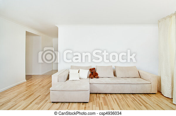 Modern home interior with free wall - csp4936034