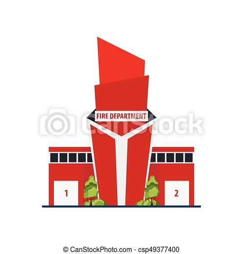 Fire department Modern building in flat style isolated on white background. - csp49377400