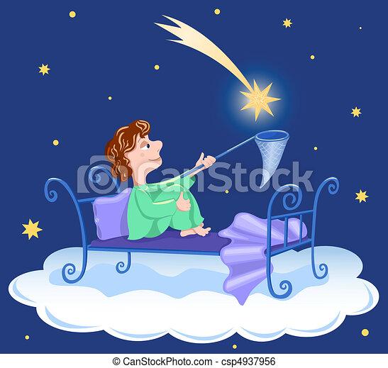 The boy catches star. - csp4937956