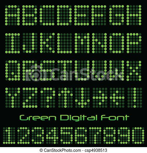 Green Digital Font - csp4938513