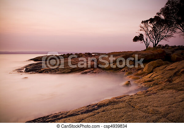 Pastel Rocks at Sunset - csp4939834