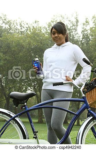 Young ethnic woman enjoying exercise.