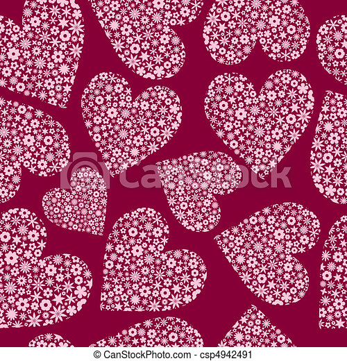 Seamless Tile of Flower Filled Hearts - csp4942491