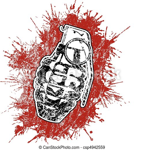 Grenade with splattered blood - csp4942559