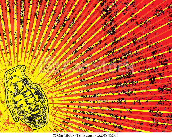 Grunge Background with Grenade - csp4942564