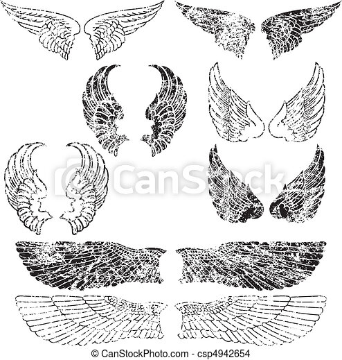 Grunge Angel Wings - csp4942654