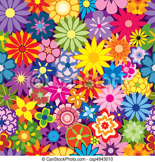 Clipart Vecteur de coloré, fleur, fond - coloré, Seamless ...