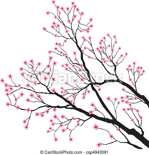 Tree Branches with Pink Flowers - csp4943091